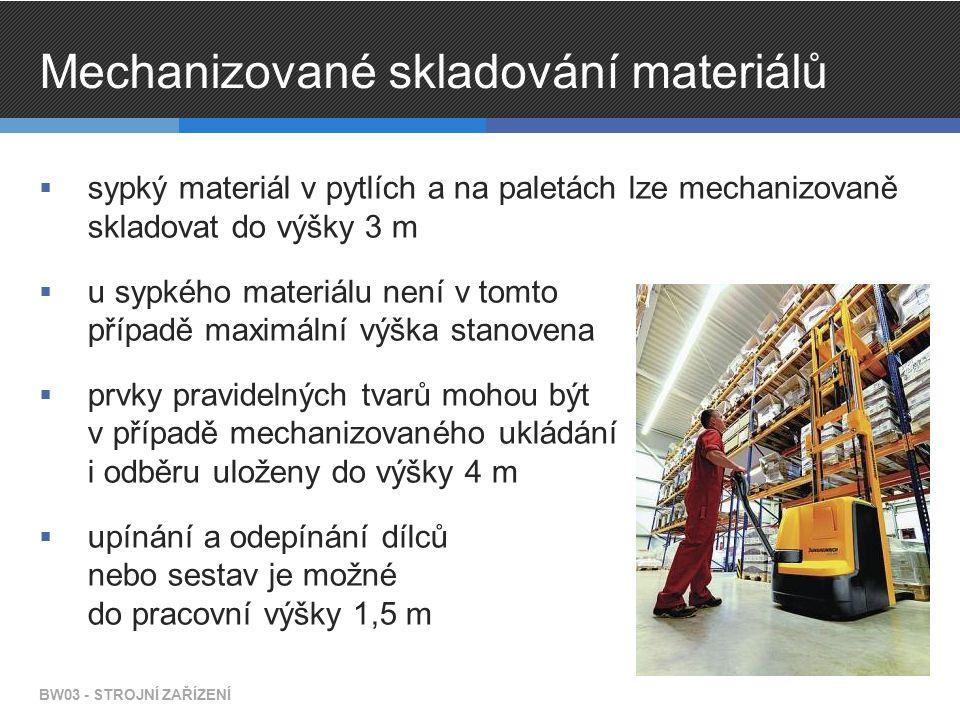 Mechanizované skladování materiálů  sypký materiál v pytlích a na paletách lze mechanizovaně skladovat do výšky 3 m  u sypkého materiálu není v tomt