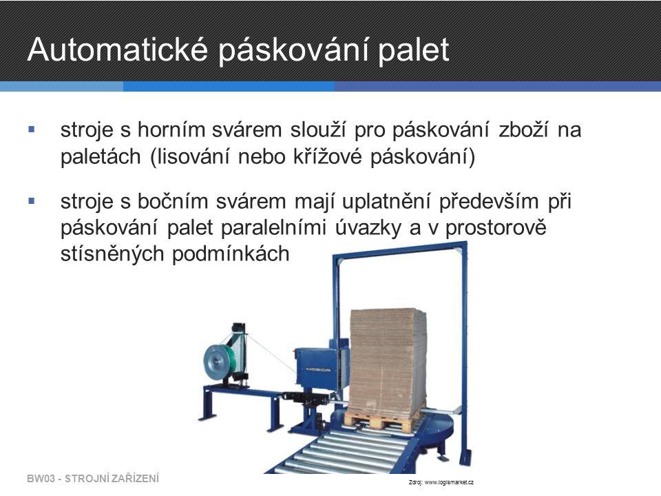 Automatické páskování palet  stroje s horním svárem slouží pro páskování zboží na paletách (lisování nebo křížové páskování)  stroje s bočním svárem