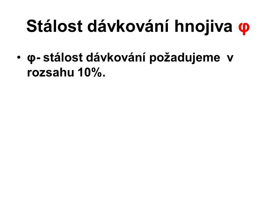 Postup výpočtu: φ - stálost dávkování hnojiva [%], Δi-relativní odchylka dávky hnojiva [%], -aritmetický průměr měrné dávky [kg], x i -jednotlivé měrn