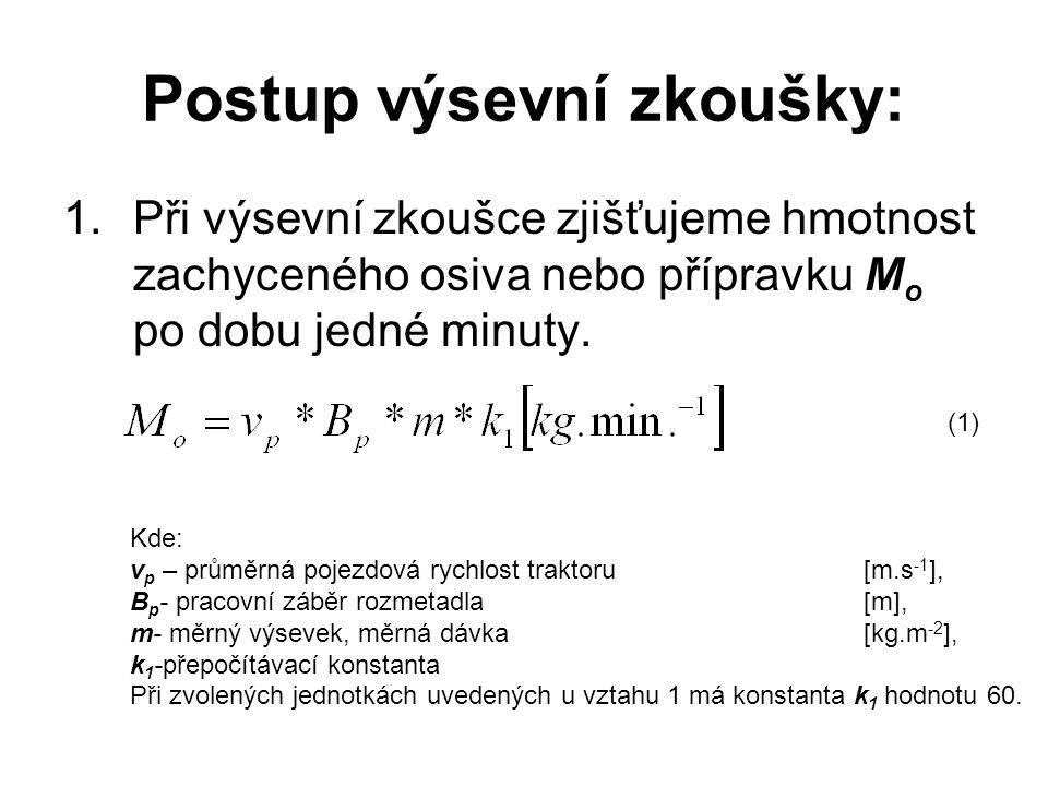 Postup výsevní zkoušky: 1.Při výsevní zkoušce zjišťujeme hmotnost zachyceného osiva nebo přípravku M o po dobu jedné minuty.