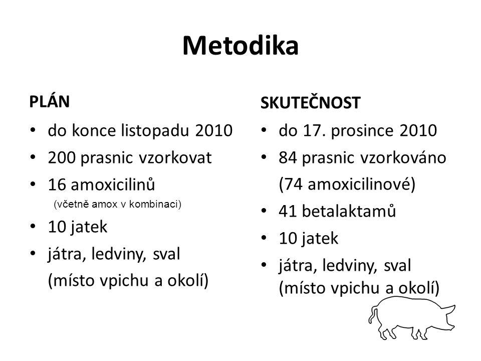 Metodika PLÁN do konce listopadu 2010 200 prasnic vzorkovat 16 amoxicilinů (včetně amox v kombinaci) 10 jatek játra, ledviny, sval (místo vpichu a okolí) SKUTEČNOST do 17.