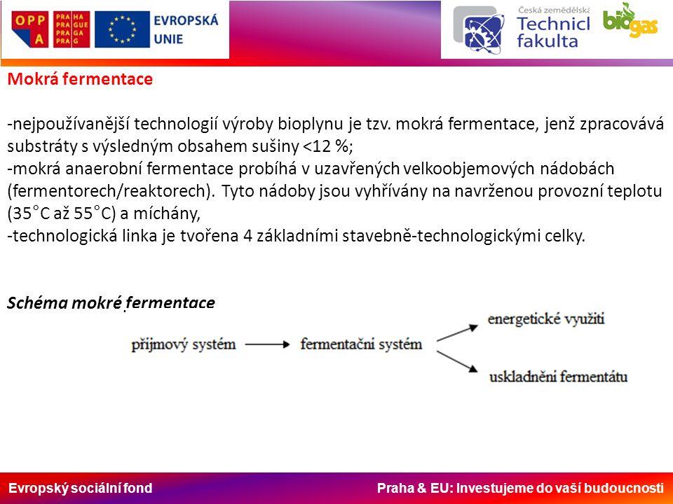 Evropský sociální fond Praha & EU: Investujeme do vaší budoucnosti Mokrá fermentace -nejpoužívanější technologií výroby bioplynu je tzv. mokrá ferment