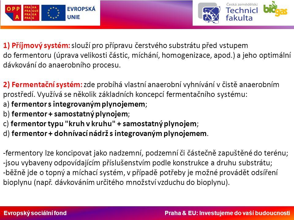 Evropský sociální fond Praha & EU: Investujeme do vaší budoucnosti 1) Příjmový systém: slouží pro přípravu čerstvého substrátu před vstupem do ferment