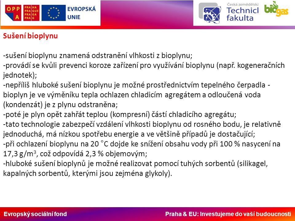 Evropský sociální fond Praha & EU: Investujeme do vaší budoucnosti Sušení bioplynu -sušení bioplynu znamená odstranění vlhkosti z bioplynu; -provádí se kvůli prevenci koroze zařízení pro využívání bioplynu (např.