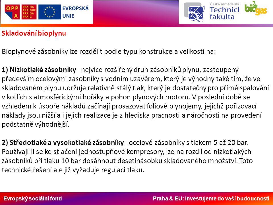 Evropský sociální fond Praha & EU: Investujeme do vaší budoucnosti Skladování bioplynu Bioplynové zásobníky lze rozdělit podle typu konstrukce a velikosti na: 1) Nízkotlaké zásobníky - nejvíce rozšířený druh zásobníků plynu, zastoupený především ocelovými zásobníky s vodním uzávěrem, který je výhodný také tím, že ve skladovaném plynu udržuje relativně stálý tlak, který je dostatečný pro přímé spalování v kotlích s atmosférickými hořáky a pohon plynových motorů.