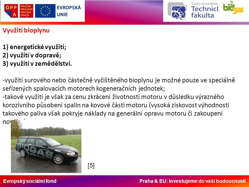 Evropský sociální fond Praha & EU: Investujeme do vaší budoucnosti Využití bioplynu 1) energetické využití; 2) využití v dopravě; 3) využití v zeměděl