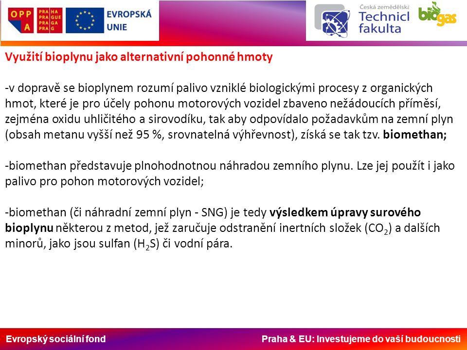 Evropský sociální fond Praha & EU: Investujeme do vaší budoucnosti Využití bioplynu jako alternativní pohonné hmoty -v dopravě se bioplynem rozumí palivo vzniklé biologickými procesy z organických hmot, které je pro účely pohonu motorových vozidel zbaveno nežádoucích příměsí, zejména oxidu uhličitého a sirovodíku, tak aby odpovídalo požadavkům na zemní plyn (obsah metanu vyšší než 95 %, srovnatelná výhřevnost), získá se tak tzv.
