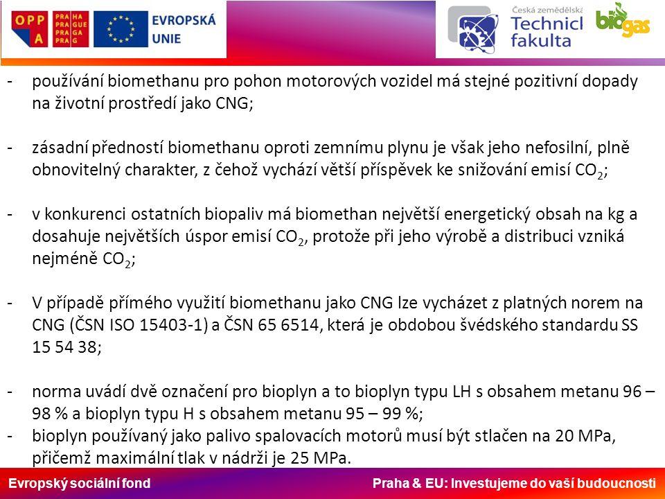 Evropský sociální fond Praha & EU: Investujeme do vaší budoucnosti -používání biomethanu pro pohon motorových vozidel má stejné pozitivní dopady na ži