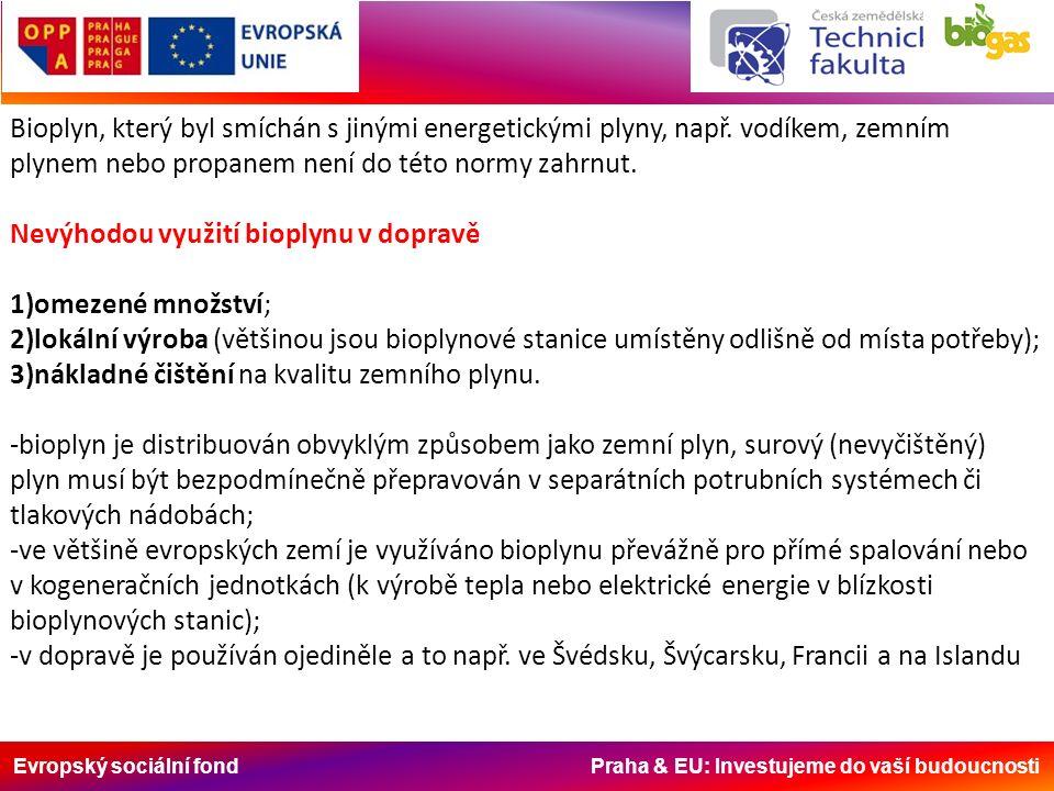 Evropský sociální fond Praha & EU: Investujeme do vaší budoucnosti Bioplyn, který byl smíchán s jinými energetickými plyny, např. vodíkem, zemním plyn