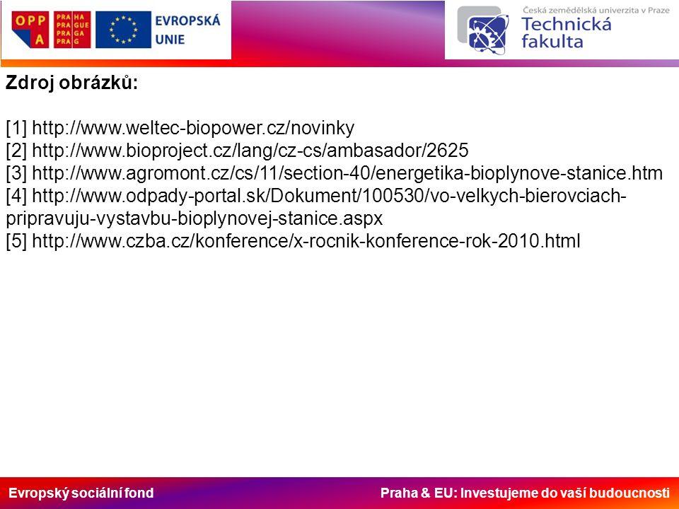 Evropský sociální fond Praha & EU: Investujeme do vaší budoucnosti Zdroj obrázků: [1] http://www.weltec-biopower.cz/novinky [2] http://www.bioproject.