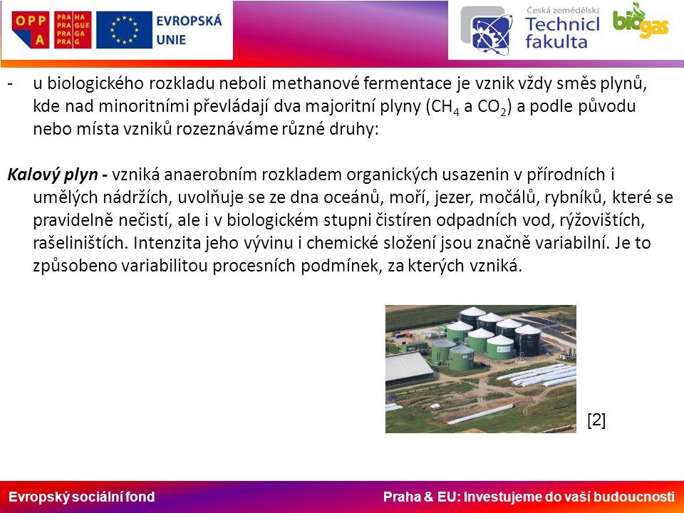 Evropský sociální fond Praha & EU: Investujeme do vaší budoucnosti -u biologického rozkladu neboli methanové fermentace je vznik vždy směs plynů, kde