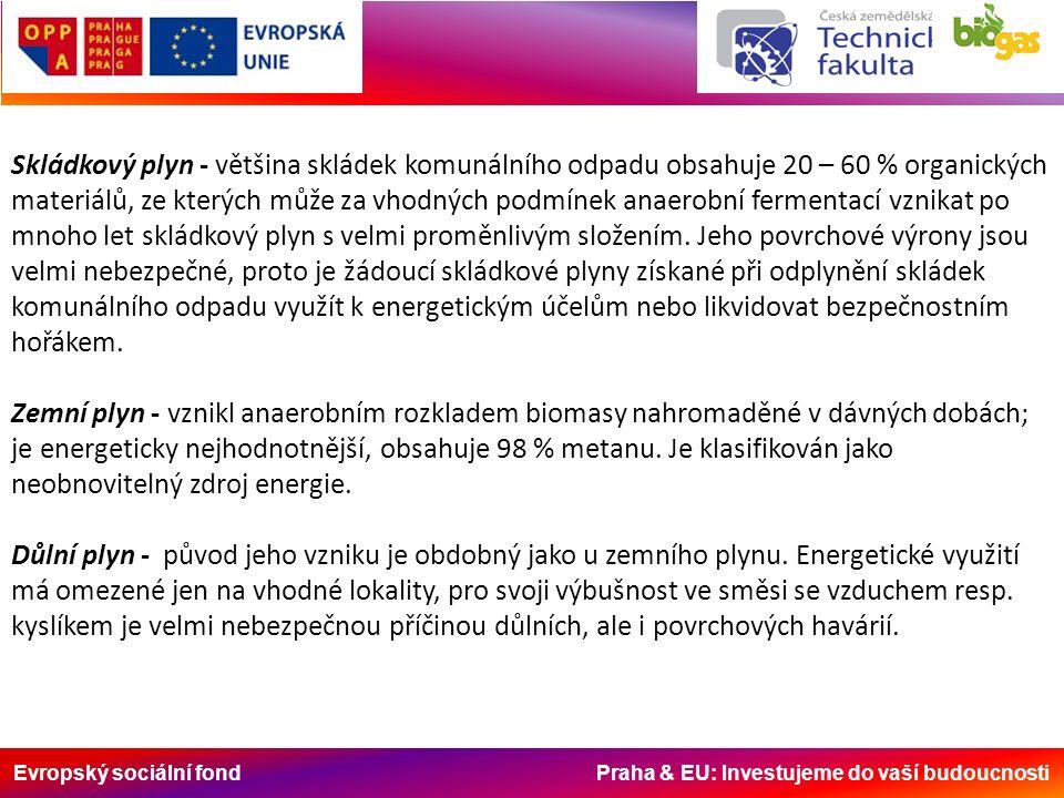 Evropský sociální fond Praha & EU: Investujeme do vaší budoucnosti Skládkový plyn - většina skládek komunálního odpadu obsahuje 20 – 60 % organických materiálů, ze kterých může za vhodných podmínek anaerobní fermentací vznikat po mnoho let skládkový plyn s velmi proměnlivým složením.