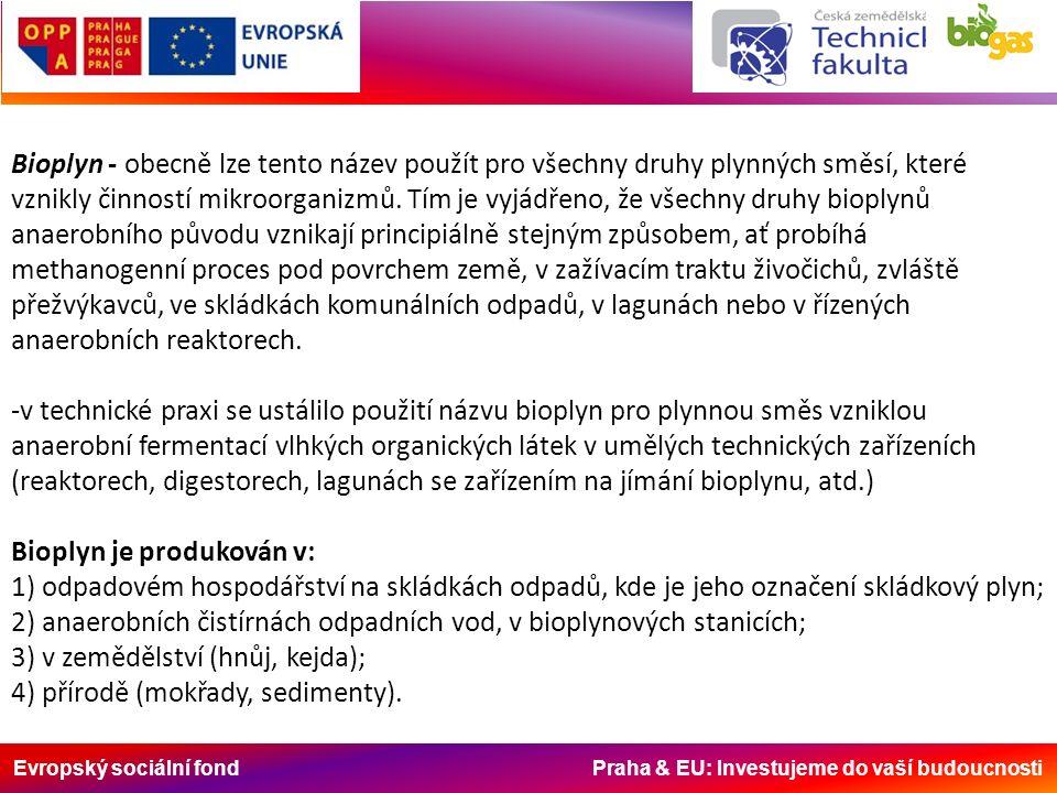 Evropský sociální fond Praha & EU: Investujeme do vaší budoucnosti Bioplyn - obecně lze tento název použít pro všechny druhy plynných směsí, které vzn