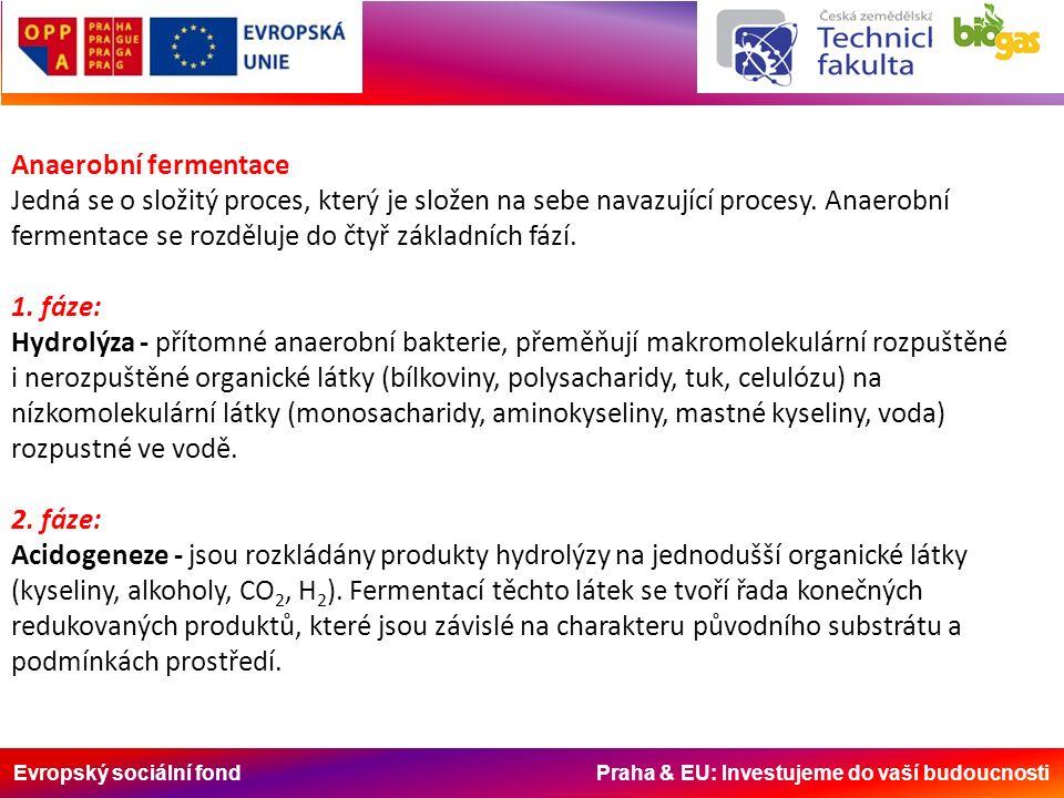 Evropský sociální fond Praha & EU: Investujeme do vaší budoucnosti Anaerobní fermentace Jedná se o složitý proces, který je složen na sebe navazující