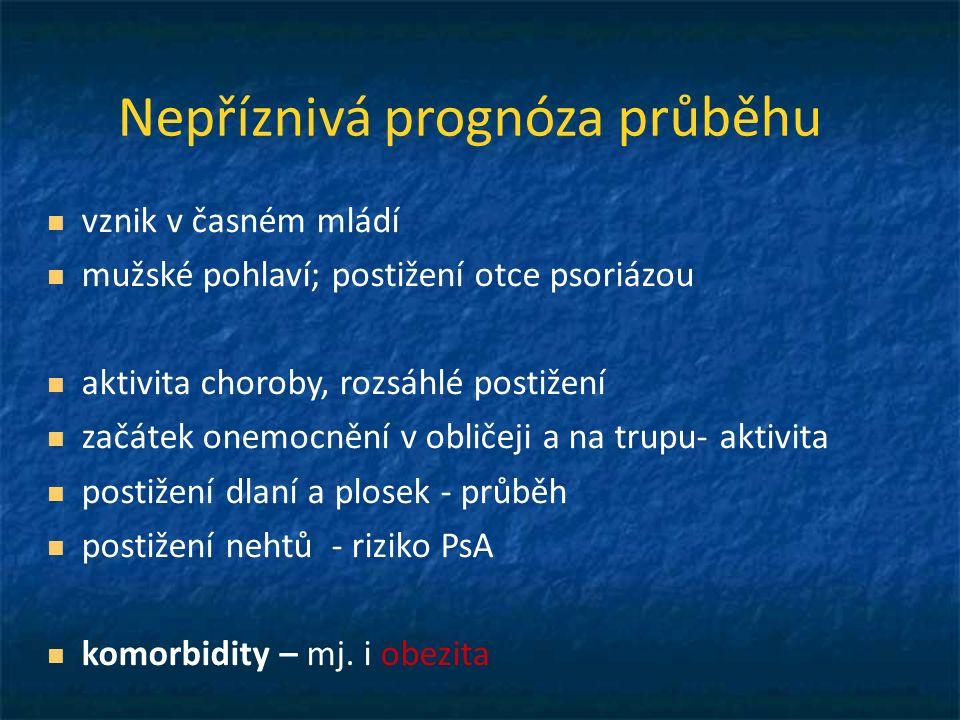 IL-17, IL-20 IL- 1, 6 CRP, TNFα Psoriáza Roztroušená skleróza, deprese Psoriatická artropatie Ankylosujicí spondylartritida Crohnova choroba ulcerózní kolitida Kardiovaskulární choroby Metabolický syndrom obezita, DM, hepatopathie, dna, dyslipidemie, arteriální hypertenze, hyperkoagulace Lymfomy Genetika - imunita Chronický systémový zánět IMID = Immune Modulated Inflammatory Diseases CISD = Chronic Inflammatory Systemic Diseases TRECID = TNF Related Chronic Inflammatory Diseases Komorbidity těžké psoriázy Uveitida Benáková N.