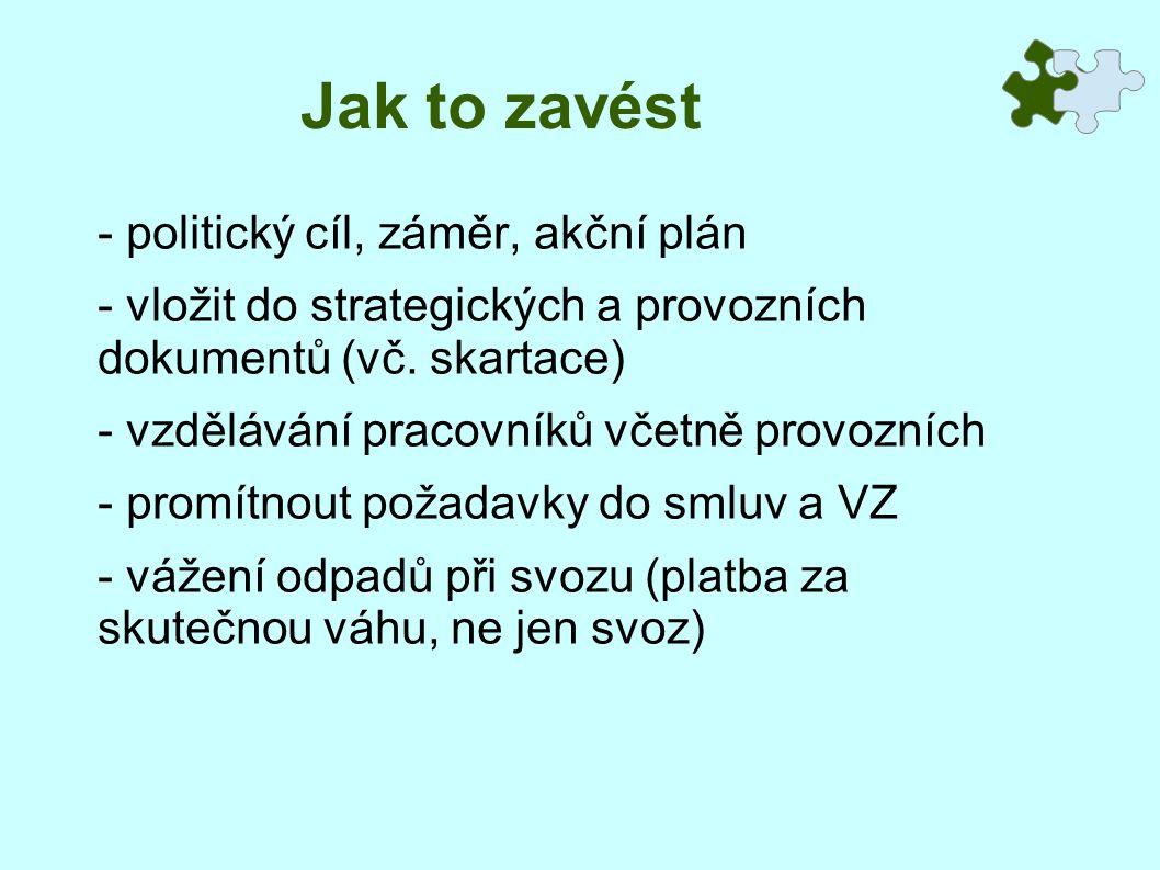 Jak to zavést - politický cíl, záměr, akční plán - vložit do strategických a provozních dokumentů (vč.