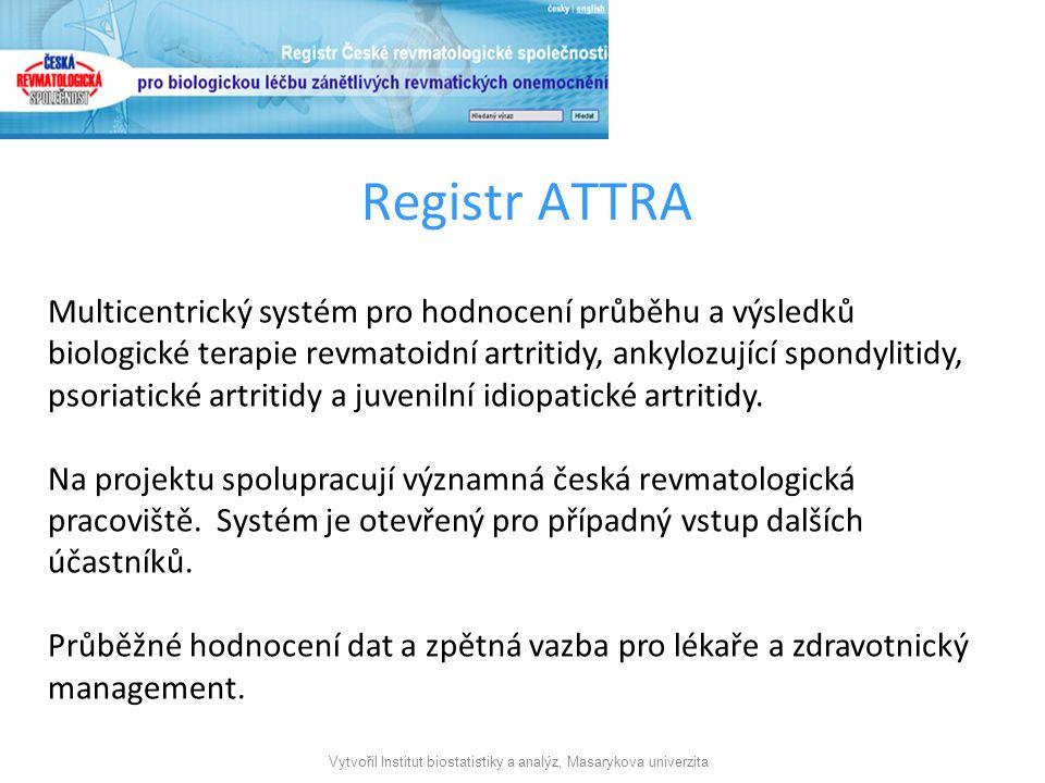 Vytvořil Institut biostatistiky a analýz, Masarykova univerzita Registr ATTRA Multicentrický systém pro hodnocení průběhu a výsledků biologické terapie revmatoidní artritidy, ankylozující spondylitidy, psoriatické artritidy a juvenilní idiopatické artritidy.