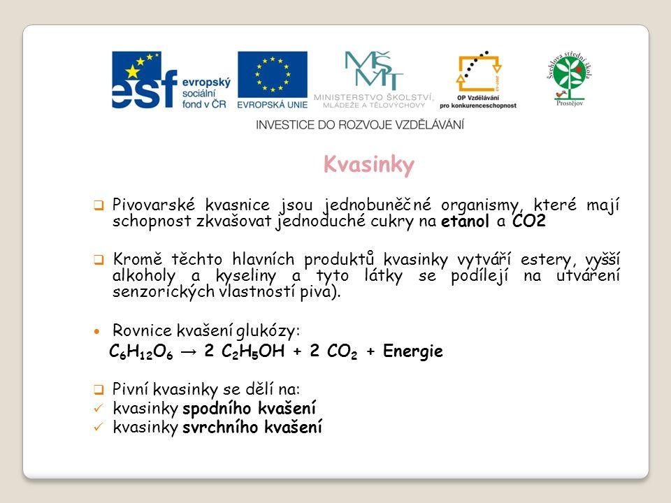 Slide 2…atd Kvasinky  Pivovarské kvasnice jsou jednobuněčné organismy, které mají schopnost zkvašovat jednoduché cukry na etanol a CO2  Kromě těchto hlavních produktů kvasinky vytváří estery, vyšší alkoholy a kyseliny a tyto látky se podílejí na utváření senzorických vlastností piva).