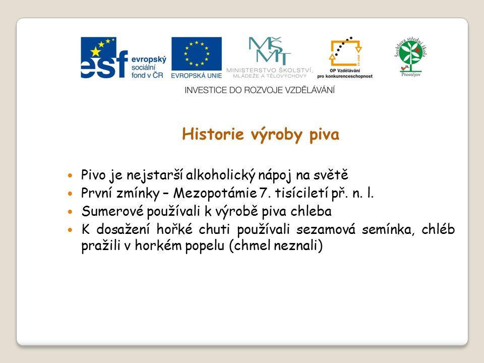 Slide 1 Modul č.3 Technologie – výroba piva  Historie výroby piva  Suroviny pro výrobu piva – chmel a chmelové výrobky