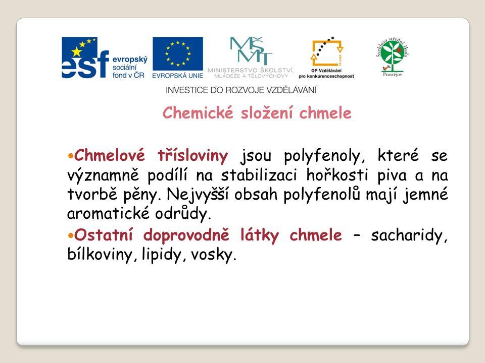 Slide 2…atd Chemické složení chmele Měkké a tvrdé chmelové pryskyřice – obsahují α-hořké kyseliny a β - hořké kyseliny.