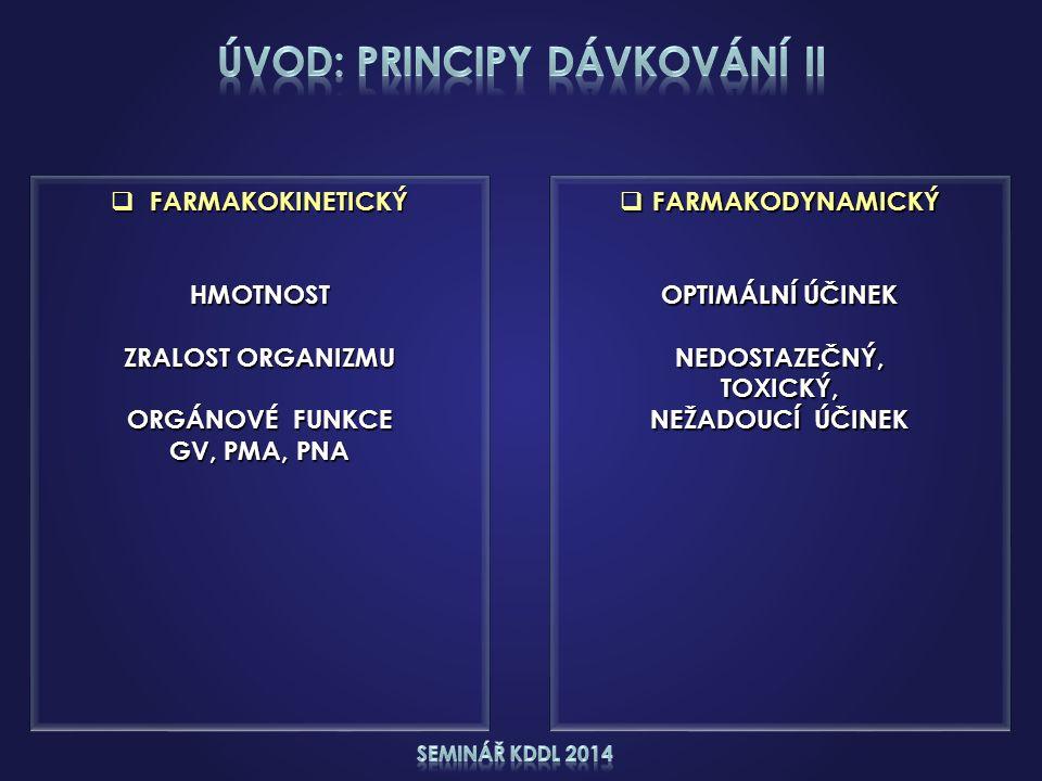  FARMAKODYNAMICKÝ OPTIMÁLNÍ ÚČINEK NEDOSTAZEČNÝ,TOXICKÝ, NEŽADOUCÍ ÚČINEK  FARMAKOKINETICKÝ HMOTNOST ZRALOST ORGANIZMU ORGÁNOVÉ FUNKCE GV, PMA, PNA