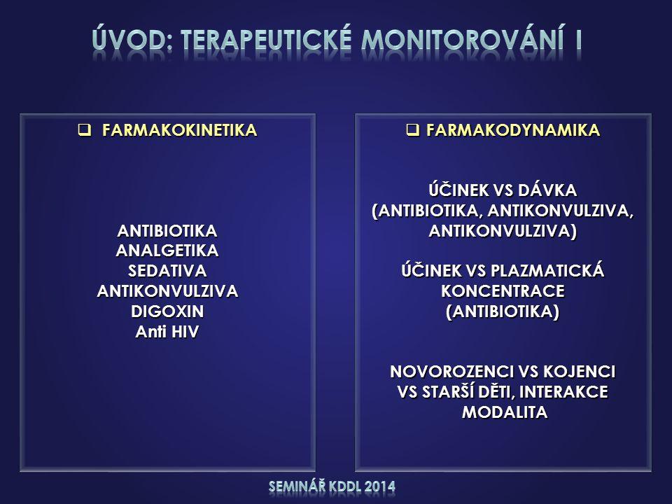  FARMAKODYNAMIKA ÚČINEK VS DÁVKA (ANTIBIOTIKA, ANTIKONVULZIVA, ANTIKONVULZIVA) ÚČINEK VS PLAZMATICKÁ KONCENTRACE(ANTIBIOTIKA) NOVOROZENCI VS KOJENCI VS STARŠÍ DĚTI, INTERAKCE MODALITA MODALITA  FARMAKOKINETIKA ANTIBIOTIKAANALGETIKASEDATIVAANTIKONVULZIVADIGOXIN Anti HIV