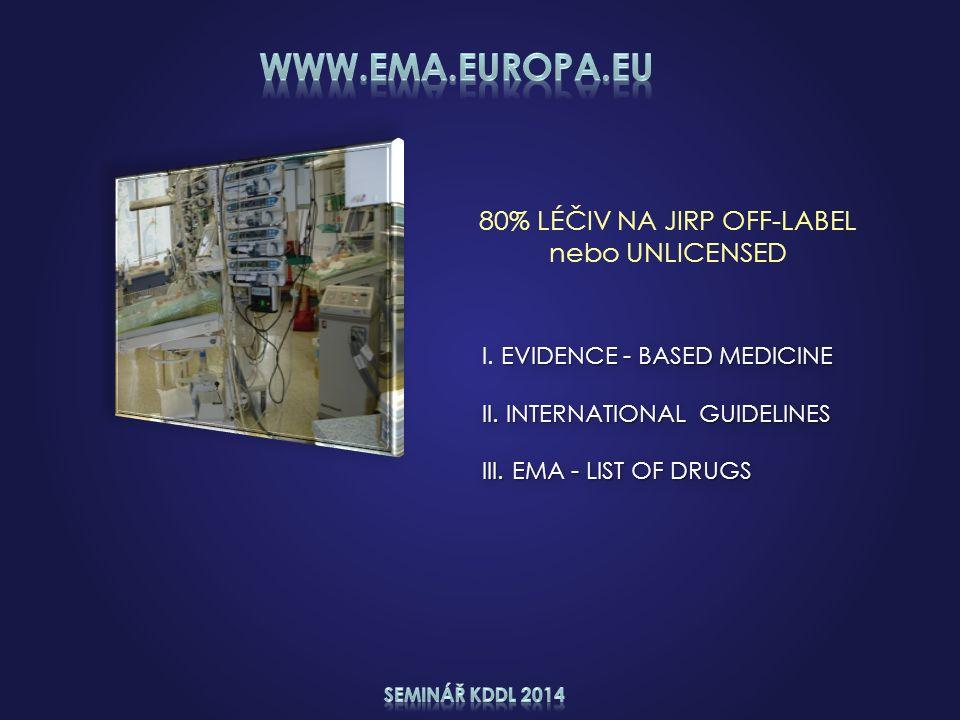 80% LÉČIV NA JIRP OFF-LABEL nebo UNLICENSED EVIDENCE - BASED MEDICINE I. EVIDENCE - BASED MEDICINE II. INTERNATIONAL GUIDELINES III. EMA - LIST OF DRU