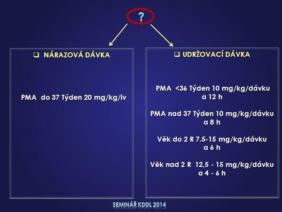  UDRŽOVACÍ DÁVKA PMA <36 Týden 10 mg/kg/dávku PMA <36 Týden 10 mg/kg/dávku a 12 h PMA nad 37 Týden 10 mg/kg/dávku a 8 h Věk do 2 R 7.5-15 mg/kg/dávku a 6 h Věk nad 2 R 12,5 - 15 mg/kg/dávku a 4 - 6 h  NÁRAZOVÁ DÁVKA PMA do 37 Týden 20 mg/kg/iv PMA do 37 Týden 20 mg/kg/iv