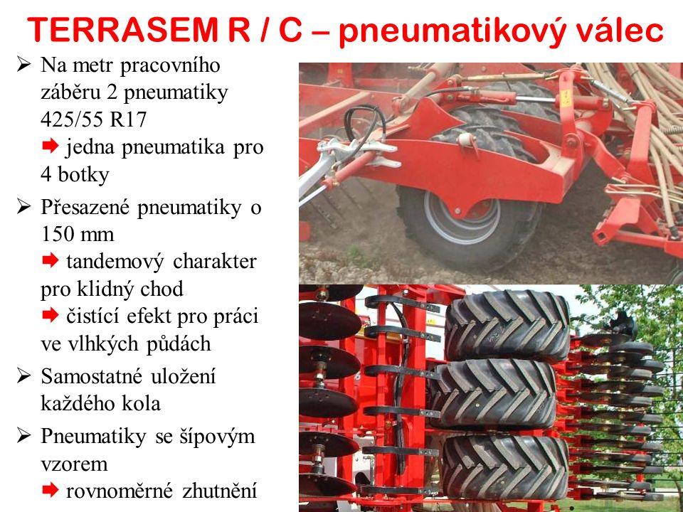  Na metr pracovního záběru 2 pneumatiky 425/55 R17  jedna pneumatika pro 4 botky  Přesazené pneumatiky o 150 mm  tandemový charakter pro klidný chod  čistící efekt pro práci ve vlhkých půdách  Samostatné uložení každého kola  Pneumatiky se šípovým vzorem  rovnoměrné zhutnění TERRASEM R / C – pneumatikový válec