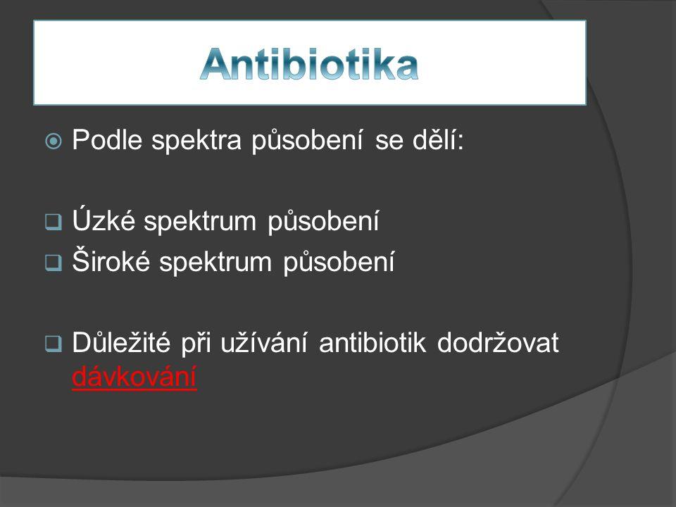  Podle spektra působení se dělí:  Úzké spektrum působení  Široké spektrum působení  Důležité při užívání antibiotik dodržovat dávkování