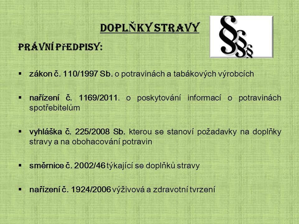 DOPL Ň KY STRAVY Právní p ř edpisy:  zákon č. 110/1997 Sb.