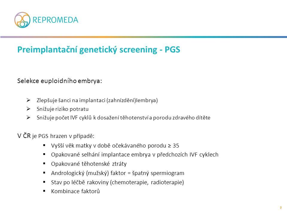 Selekce euploidního embrya:  Zlepšuje šanci na implantaci (zahnízdění)Iembrya)  Snižuje riziko potratu  Snižuje počet IVF cyklů k dosažení těhotenství a porodu zdravého dítěte V ČR je PGS hrazen v případě:  Vyšší věk matky v době očekávaného porodu ≥ 35  Opakované selhání implantace embrya v předchozích IVF cyklech  Opakované těhotenské ztráty  Andrologický (mužský) faktor = špatný spermiogram  Stav po léčbě rakoviny (chemoterapie, radioterapie)  Kombinace faktorů Preimplantační genetický screening - PGS 9