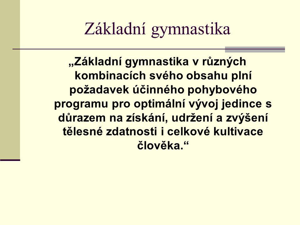"""Základní gymnastika """"Základní gymnastika v různých kombinacích svého obsahu plní požadavek účinného pohybového programu pro optimální vývoj jedince s důrazem na získání, udržení a zvýšení tělesné zdatnosti i celkové kultivace člověka."""