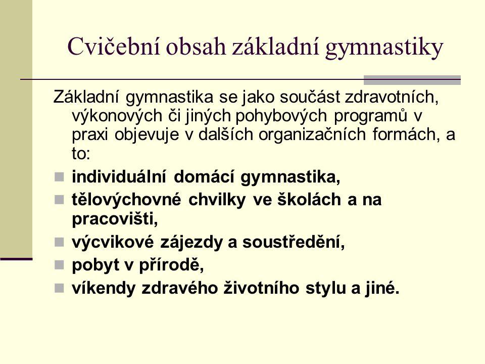 Cvičební obsah základní gymnastiky Základní gymnastika se jako součást zdravotních, výkonových či jiných pohybových programů v praxi objevuje v dalších organizačních formách, a to: individuální domácí gymnastika, tělovýchovné chvilky ve školách a na pracovišti, výcvikové zájezdy a soustředění, pobyt v přírodě, víkendy zdravého životního stylu a jiné.