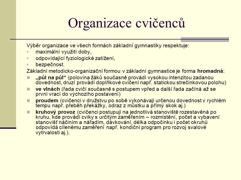 Organizace cvičenců Výběr organizace ve všech formách základní gymnastiky respektuje:  maximální využití doby,  odpovídající fyziologické zatížení,  bezpečnost.
