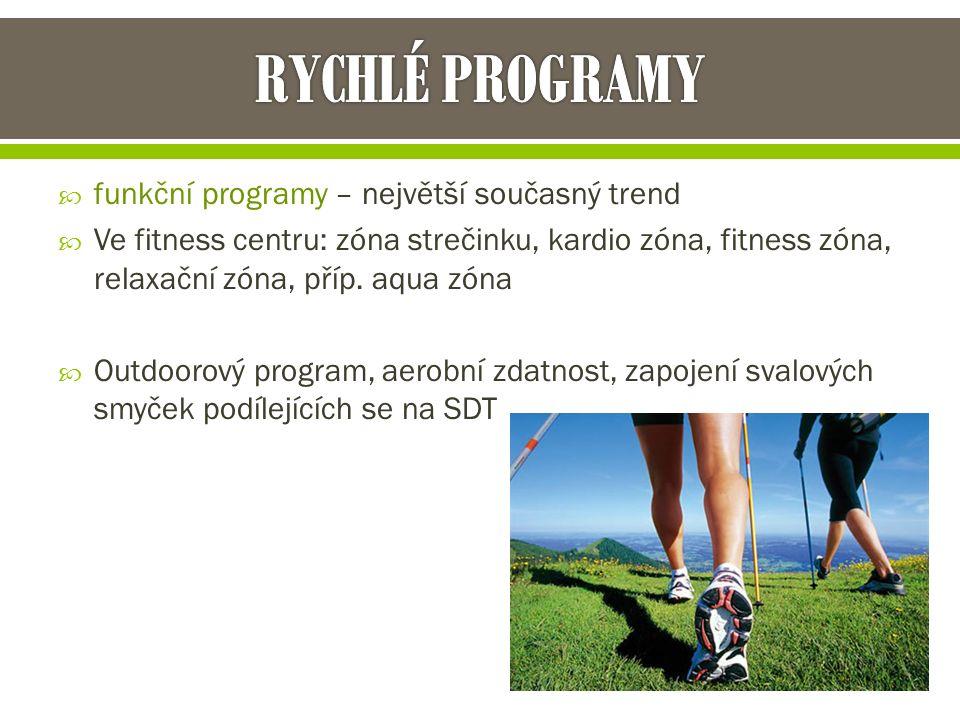  funkční programy – největší současný trend  Ve fitness centru: zóna strečinku, kardio zóna, fitness zóna, relaxační zóna, příp.