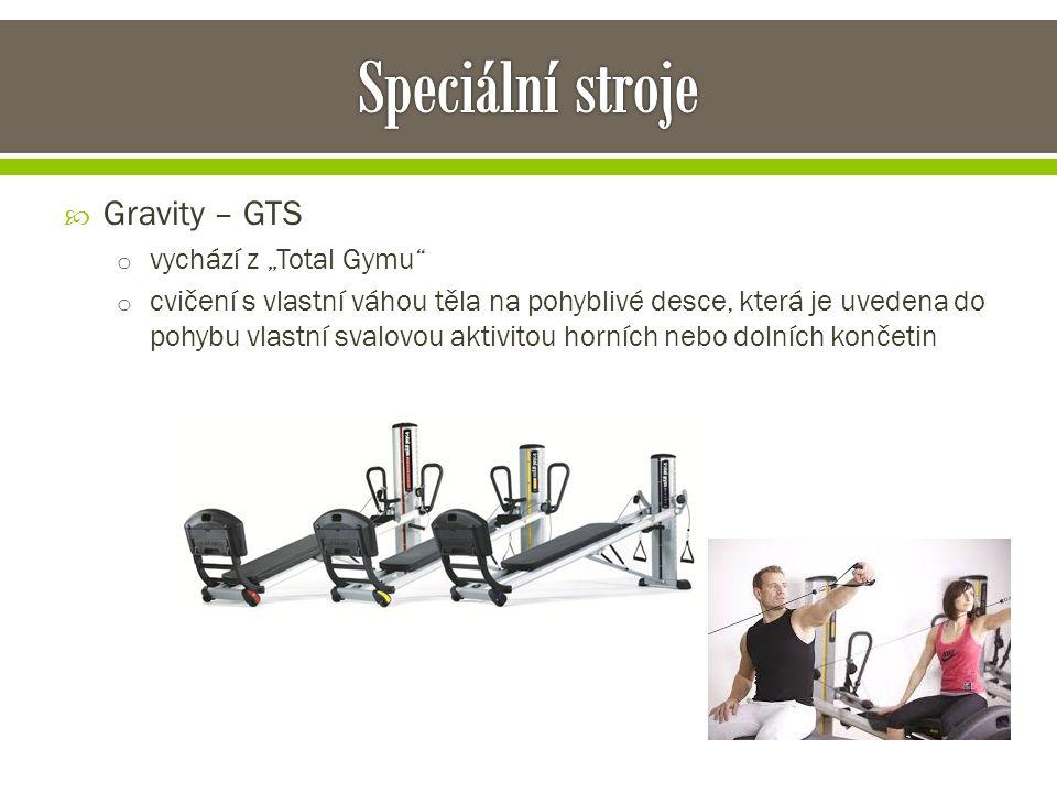 """ Gravity – GTS o vychází z """"Total Gymu o cvičení s vlastní váhou těla na pohyblivé desce, která je uvedena do pohybu vlastní svalovou aktivitou horních nebo dolních končetin"""