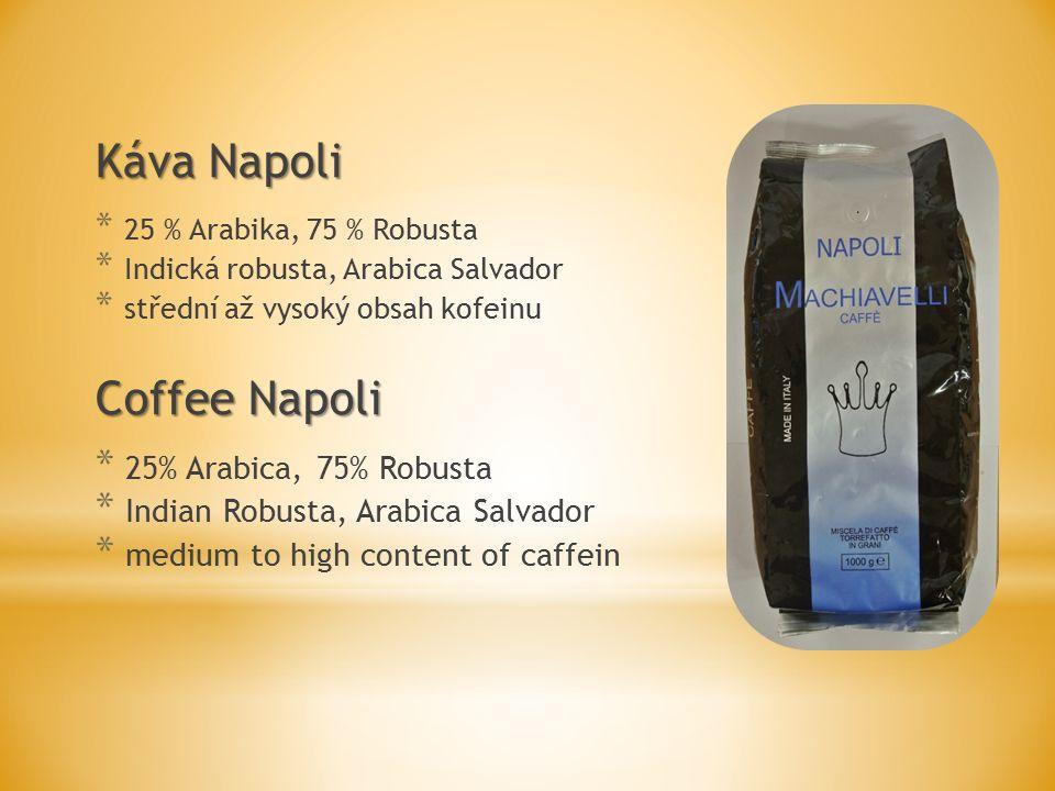 Káva Napoli * 25 % Arabika, 75 % Robusta * Indická robusta, Arabica Salvador * střední až vysoký obsah kofeinu Coffee Napoli * 25% Arabica, 75% Robusta * Indian Robusta, Arabica Salvador * medium to high content of caffein