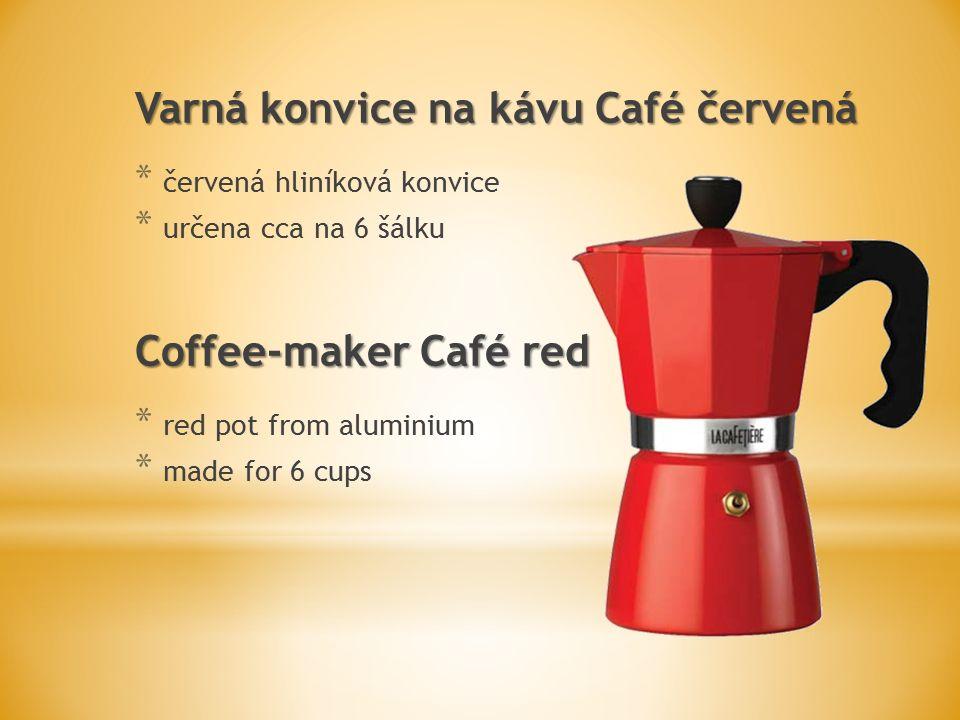 Varná konvice na kávu Café červená * červená hliníková konvice * určena cca na 6 šálku Coffee-maker Café red * red pot from aluminium * made for 6 cups