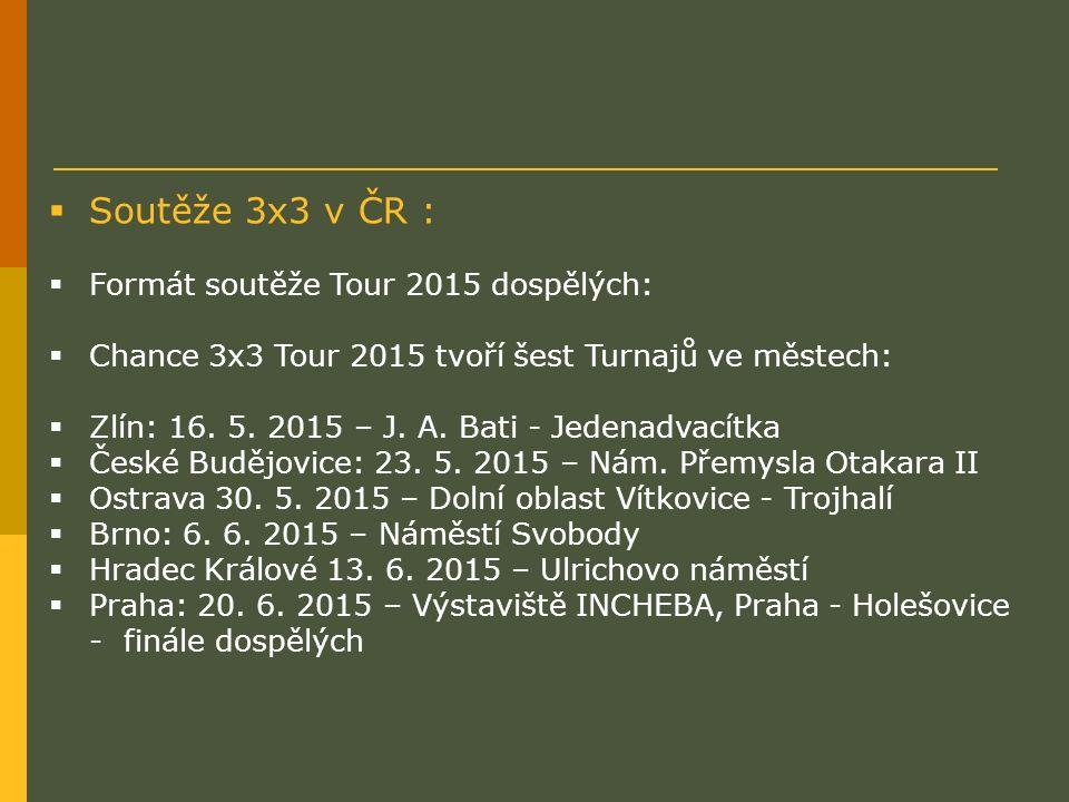  Soutěže 3x3 v ČR :  Formát soutěže Tour 2015 dospělých:  Chance 3x3 Tour 2015 tvoří šest Turnajů ve městech:  Zlín: 16. 5. 2015 – J. A. Bati - Je