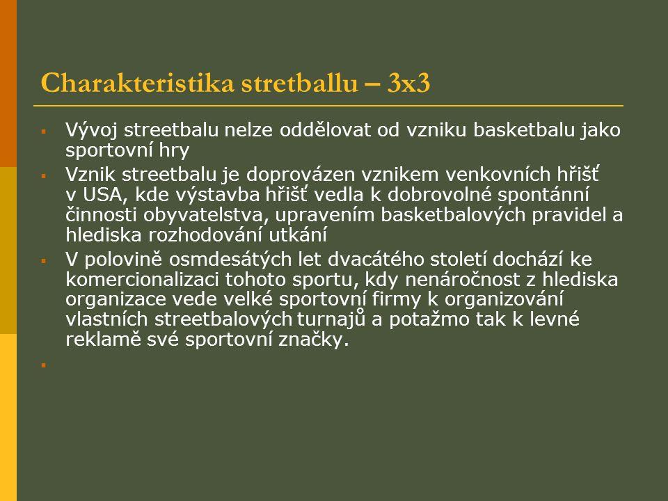 Charakteristika stretballu – 3x3  Vývoj streetbalu nelze oddělovat od vzniku basketbalu jako sportovní hry  Vznik streetbalu je doprovázen vznikem venkovních hřišť v USA, kde výstavba hřišť vedla k dobrovolné spontánní činnosti obyvatelstva, upravením basketbalových pravidel a hlediska rozhodování utkání  V polovině osmdesátých let dvacátého století dochází ke komercionalizaci tohoto sportu, kdy nenáročnost z hlediska organizace vede velké sportovní firmy k organizování vlastních streetbalových turnajů a potažmo tak k levné reklamě své sportovní značky.