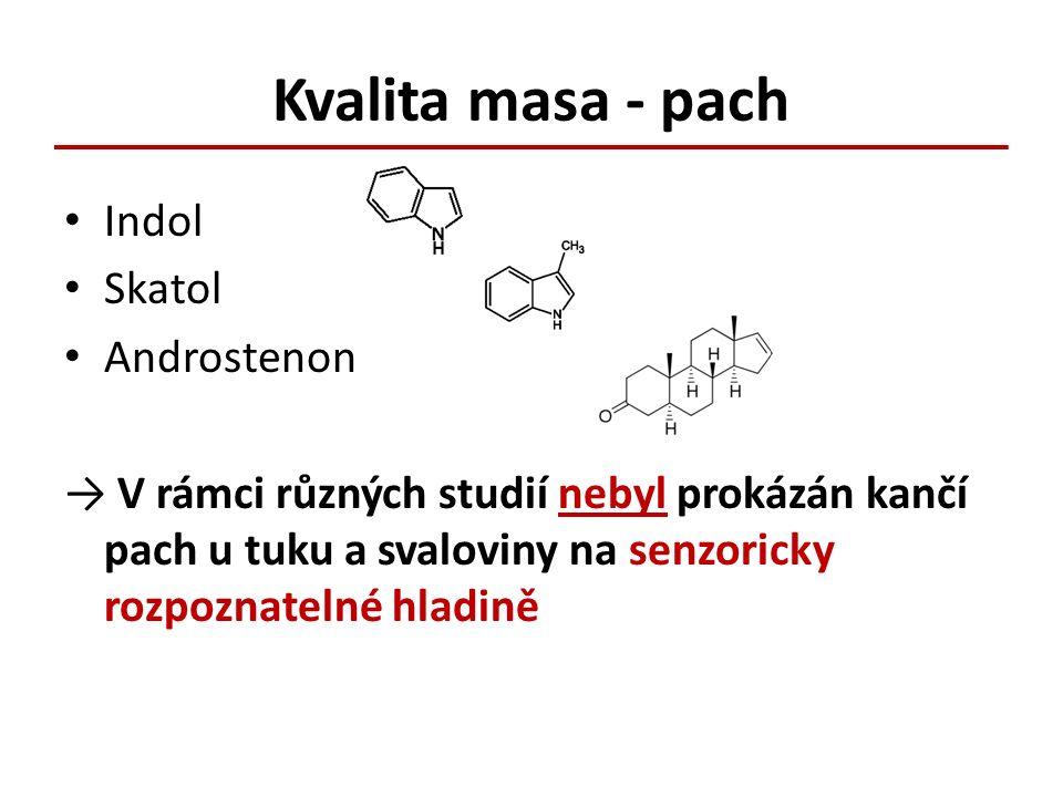 Kvalita masa - pach Indol Skatol Androstenon → V rámci různých studií nebyl prokázán kančí pach u tuku a svaloviny na senzoricky rozpoznatelné hladině