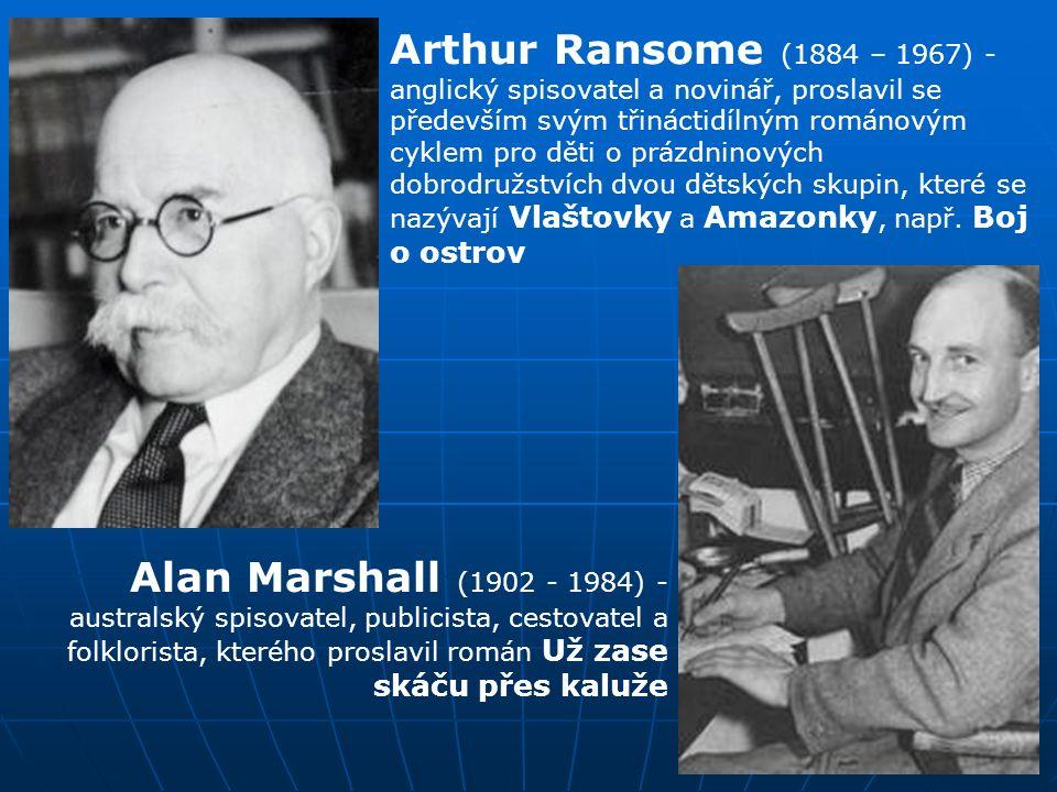 Arthur Ransome (1884 – 1967) - anglický spisovatel a novinář, proslavil se především svým třináctidílným románovým cyklem pro děti o prázdninových dobrodružstvích dvou dětských skupin, které se nazývají Vlaštovky a Amazonky, např.