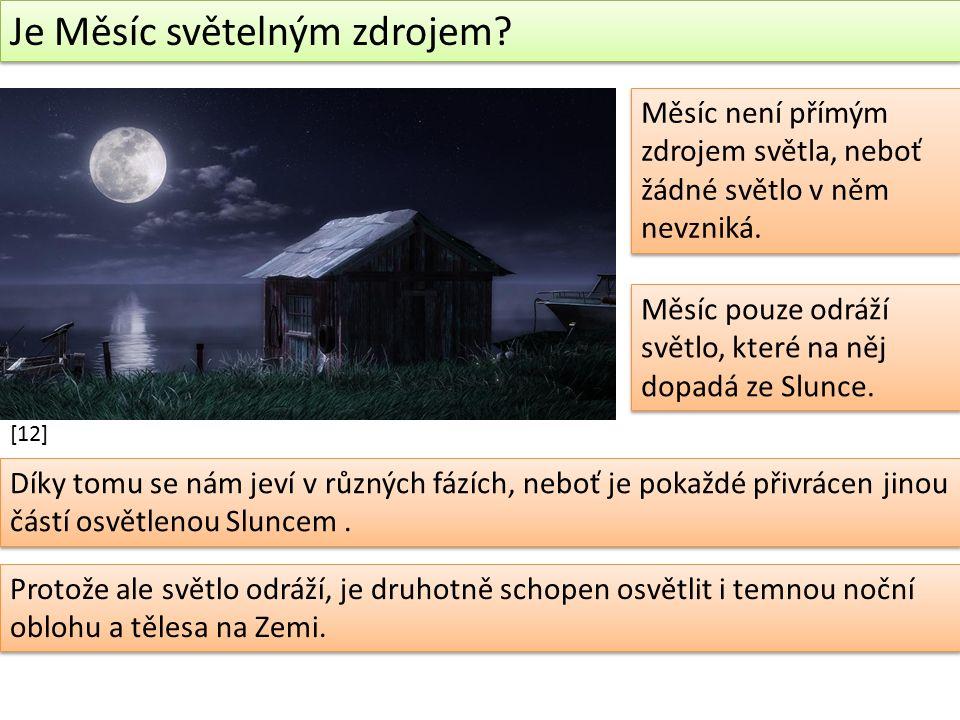 Je Měsíc světelným zdrojem. Měsíc není přímým zdrojem světla, neboť žádné světlo v něm nevzniká.