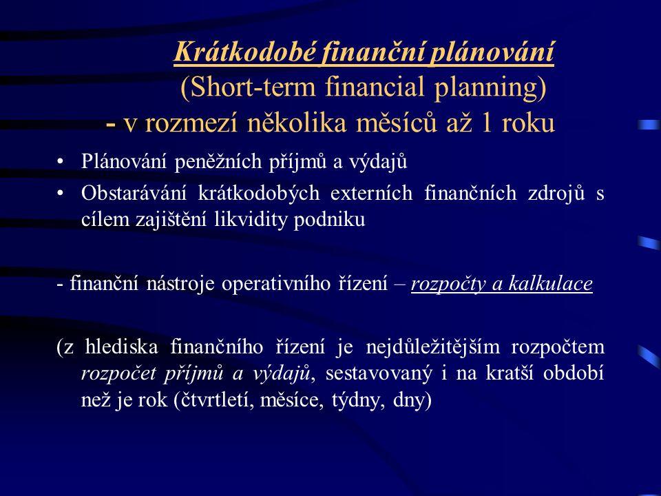 Krátkodobé finanční plánování (Short-term financial planning) - v rozmezí několika měsíců až 1 roku Plánování peněžních příjmů a výdajů Obstarávání krátkodobých externích finančních zdrojů s cílem zajištění likvidity podniku - finanční nástroje operativního řízení – rozpočty a kalkulace (z hlediska finančního řízení je nejdůležitějším rozpočtem rozpočet příjmů a výdajů, sestavovaný i na kratší období než je rok (čtvrtletí, měsíce, týdny, dny)