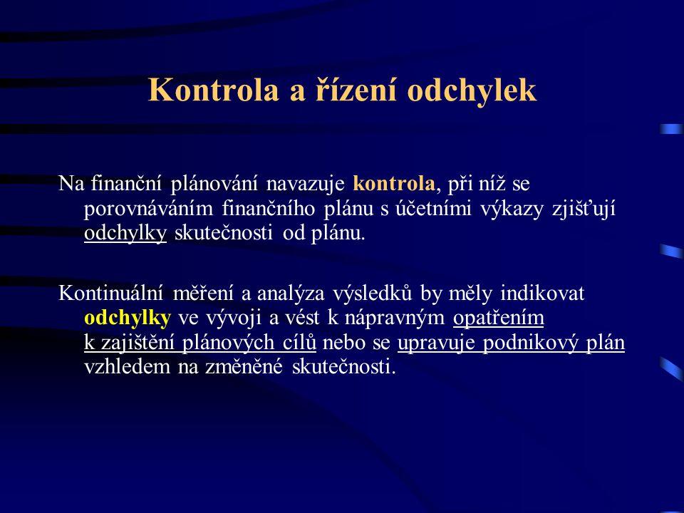 Kontrola a řízení odchylek Na finanční plánování navazuje kontrola, při níž se porovnáváním finančního plánu s účetními výkazy zjišťují odchylky skutečnosti od plánu.