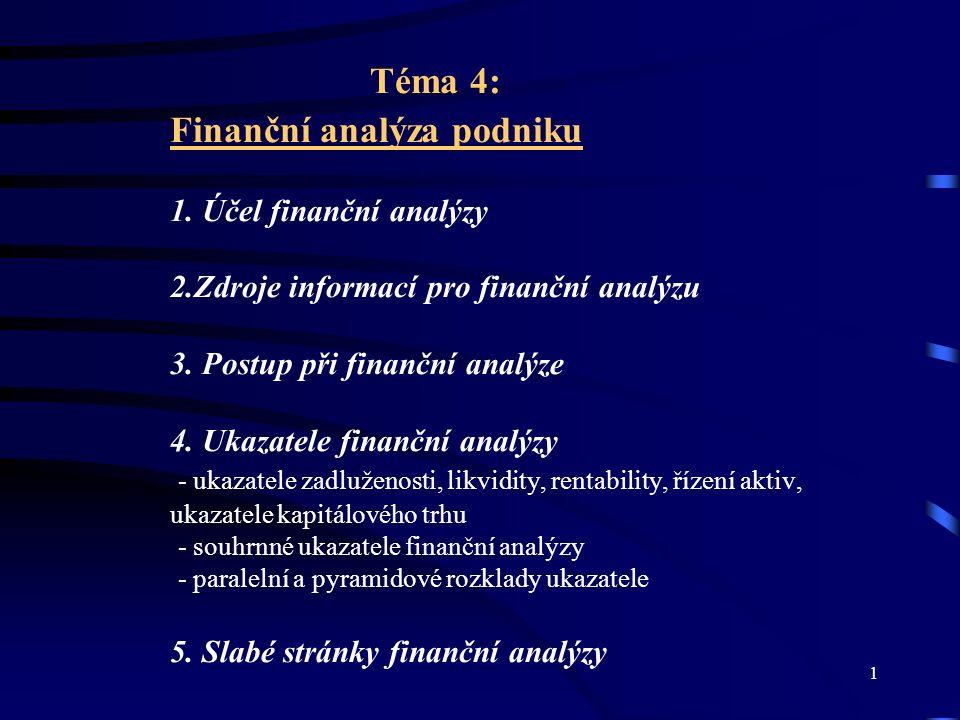 2 Účel finanční analýzy - finanční analýza – hodnocení výsledků hospodaření - nástroj pro krátkodobé a zejména pak pro dlouhodobé finanční řízení a rozhodování podniku