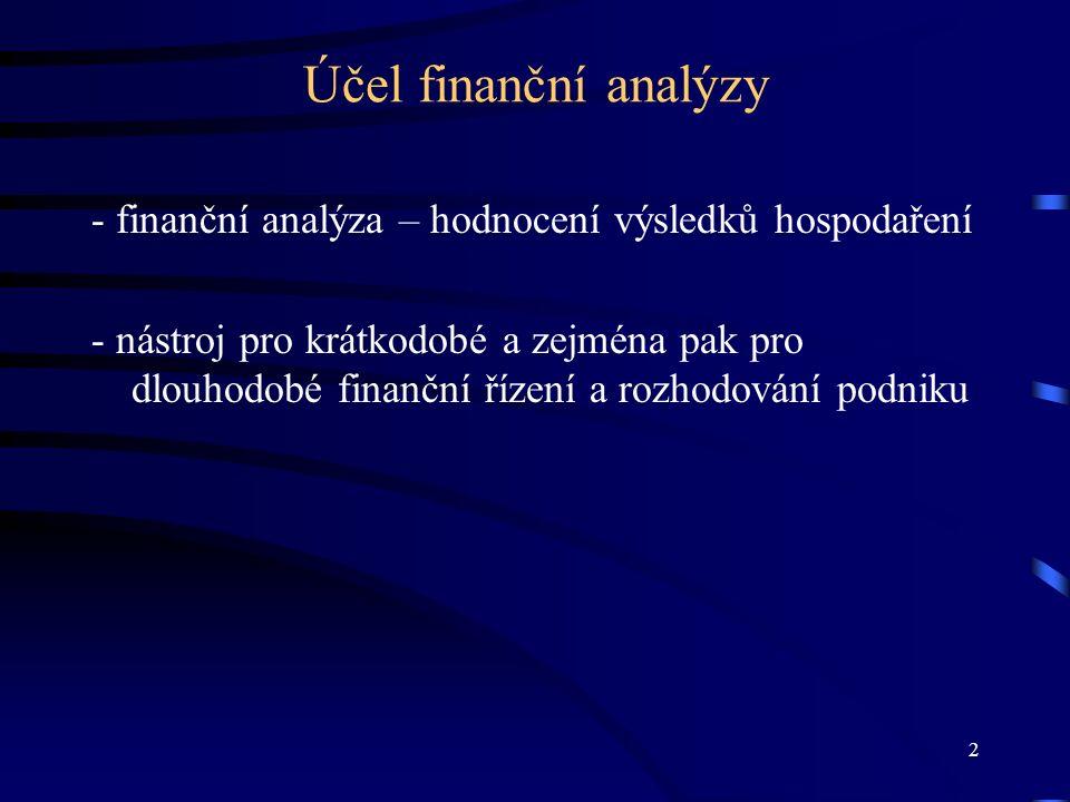 3 Zdroje informací pro finanční analýzu a)finanční informace, které jsou obsaženy:  ve vnitropodnikových účetních výkazech (rozvaha, výkaz zisku a ztráty, výkaz cash flow)  v předpovědích finančních analytiků a vrcholového vedení podniku  v burzovním zpravodajství  v hospodářských zprávách informačních médií b) ostatní informace, získané:  z firemní statistiky produkce, poptávky, aj.