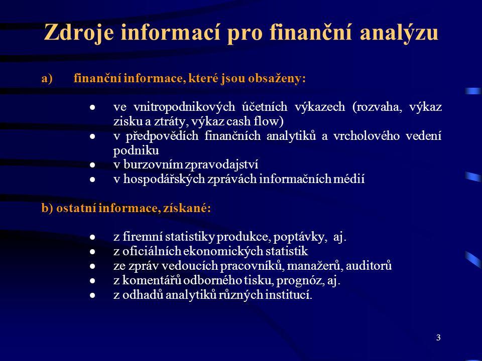 4 Metody finanční analýzy Elementární metody:  Analýza stavových (absolutních) ukazatelů (analýza trendů a procentní rozbor)  Analýza rozdílových a tokových ukazatelů  Analýza poměrových ukazatelů (analýza ukazatelů likvidity, rentability, aktivity, zadluženosti, majetkové a finanční struktury, ukazatelů kapitálového trhu a analýza ukazatelů na bázi cash flow) Vyšší metody  Matematicko-statistické metody  Nestatistické metody