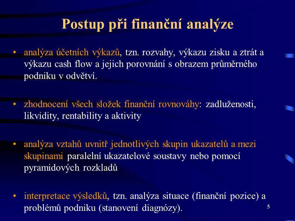 6 Ukazatele finanční analýzy Absolutní ukazatele - využíváme jich zejména k analýze vývojových trendů (srovnání vývoje v časových řadách) a k procentnímu rozboru komponent (jednotlivé položky výkazů se vyjádří jako %-ní podíly těchto komponent).